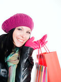 Smiling woman in fall clothes Stock Images