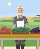 Smiling woman farmer selling vegetables Royalty Free Stock Image