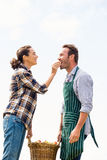 Smiling woman feeding apple to man Royalty Free Stock Images