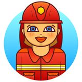 Woman firefighter vector illustration. Smiling woman firefighter in a protective uniform, vector illustration in line art style Royalty Free Stock Photo