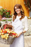 Smiling Woman Florist, Small Business Flower Shop Owner. Smiling Mature Woman Florist Small Business Flower Shop Owner. Shallow Focus stock photos