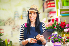 Smiling Woman Florist Small Business Flower Shop Owner. stock photography