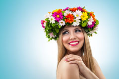 Smiling woman with flower wreath Royalty Free Stock Images