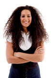 Smiling woman with folded hands Royalty Free Stock Photos