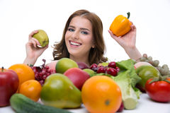 smiling woman with fruits Stock Photos
