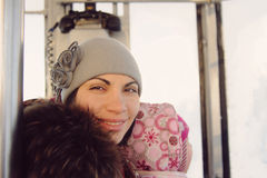 Smiling Woman in Funicular Royalty Free Stock Photos