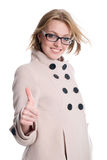Smiling woman gesture shows okay Stock Photos