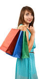 Smiling woman with a gift bag Stock Photography