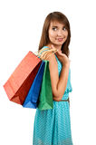 Smiling woman with a gift bag Stock Photo