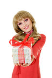 Smiling woman with gift box Stock Photos