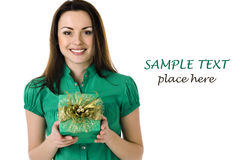 Smiling woman with gift box Stock Photo