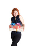 Smiling Woman with gifts boxs Royalty Free Stock Photos