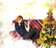 Smiling Woman with gifts boxs Stock Images