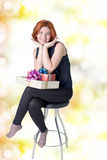 Smiling Woman with gifts boxs Stock Image