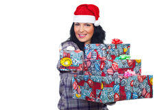Smiling woman give you Christmas gift Stock Images