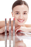 Smiling woman with glamour red lipsticks. Stock Photography