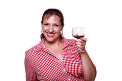 Smiling woman with glass of red wine Stock Image