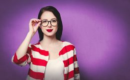 Smiling woman in glasses Royalty Free Stock Images
