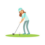 Smiling woman golfer in a light blue shirt and cap hitting the ball vector Illustration. Isolated on a white background Stock Image