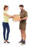 Smiling woman got a delivery stock photo