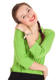 Smiling woman in green blouse Royalty Free Stock Images