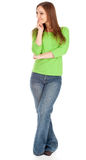 Smiling woman in green blouse Stock Photography