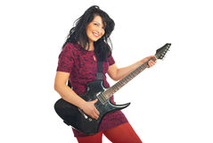 Smiling woman with guitar Stock Photography