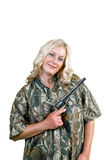 Smiling woman with gun Stock Photography