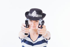 Smiling woman with guns Stock Photo
