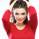 Smiling woman hair beauty portrait. Beautiful smiling girl isol Stock Images
