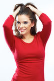 Smiling woman hair beauty portrait. Beautiful smil Royalty Free Stock Photo
