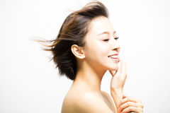 Smiling  Woman with hair motion Stock Photography