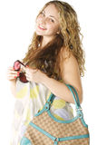 Smiling woman with handbag Royalty Free Stock Photography