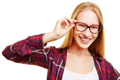 Smiling woman with hands on glasses Stock Image
