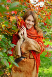 Smiling woman - happy autumn Stock Photo