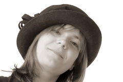 Smiling woman in hat Stock Photography