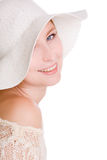 Smiling woman in hat. Smiling woman isolated on white background Royalty Free Stock Photos