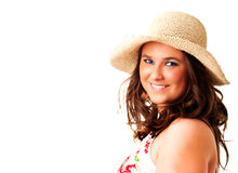Smiling woman in hat over white background Stock Images