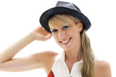 Smiling woman hat on white background Royalty Free Stock Photo