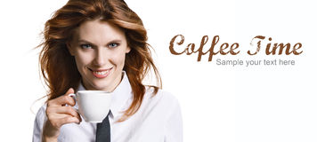 Smiling woman have a coffee time Stock Photos