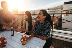 Smiling woman having a party with friends stock photo