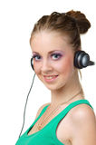 Smiling woman with headphones Royalty Free Stock Image