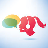 Smiling woman with headphones and speech bubbles Royalty Free Stock Image