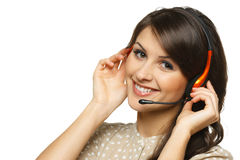 Smiling woman in headset Stock Photography