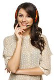 Smiling woman in headset Royalty Free Stock Photos
