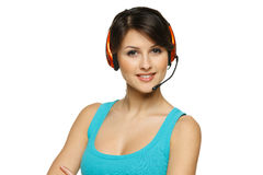 Smiling woman in headset Royalty Free Stock Photo