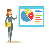 Smiling woman in a headset pointing at chart on a board during presentation vector Illustration Stock Image