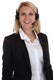 Smiling woman with headset telephone phone call center secretary Stock Images