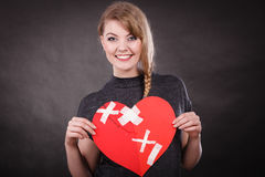 Smiling woman with healed heart. royalty free stock photos