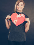 Smiling woman with healed heart. Stock Photos